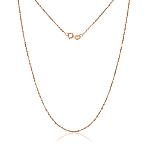 14k Rose Gold Pink Singapore Chain Necklace
