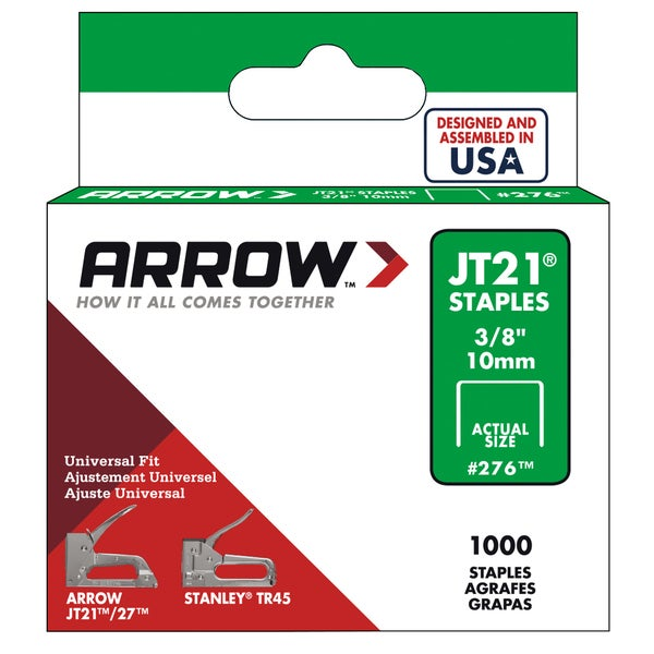 "Arrow Fastener 276 3/8"" JT21 Staples"
