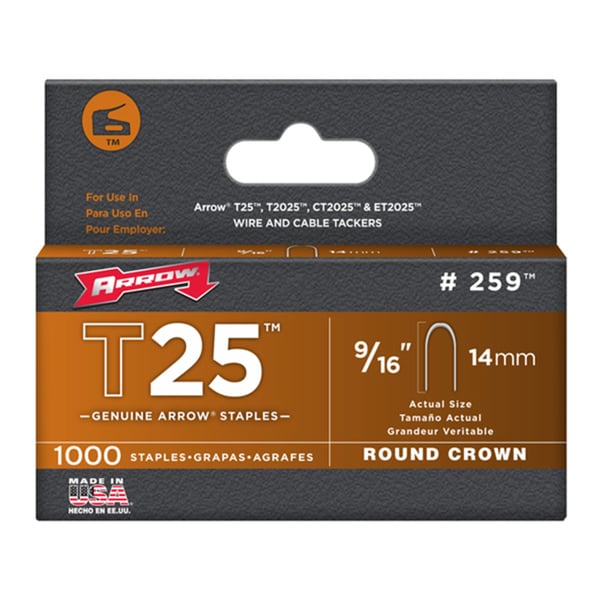 "Arrow Fastener 259 9/16"" T25 Staples"