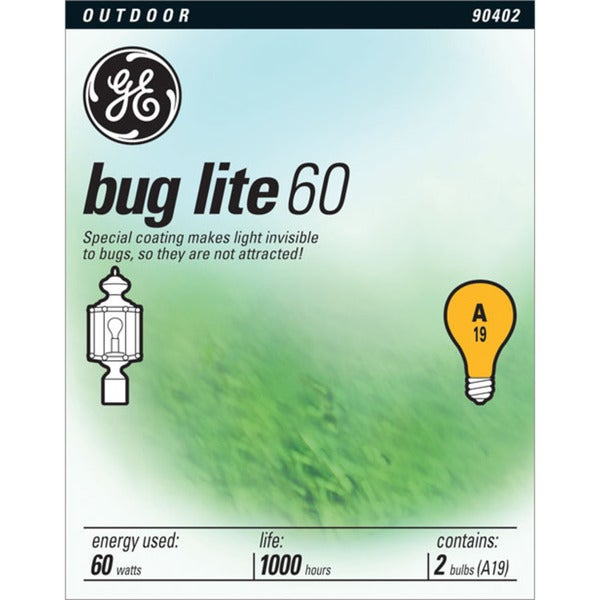 GE Lighting 97495 60 Watt Yellow Bug Light Bulbs 2-count
