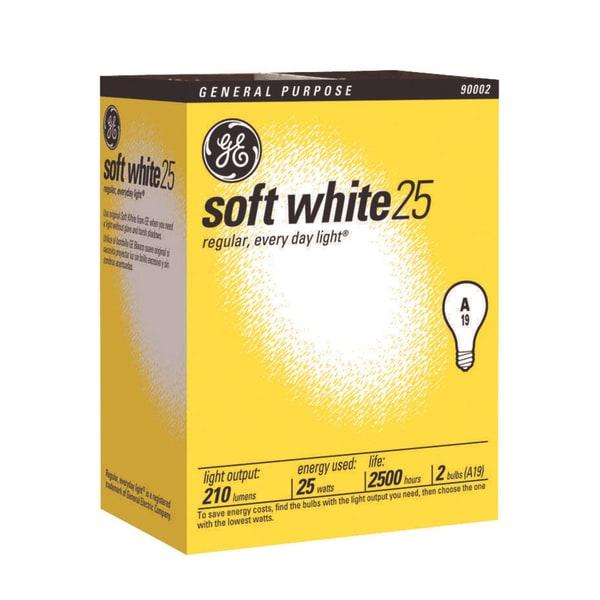 GE Lighting 97492 25 Watt Soft White Standard Incandescent Light Bulbs 2 Pack