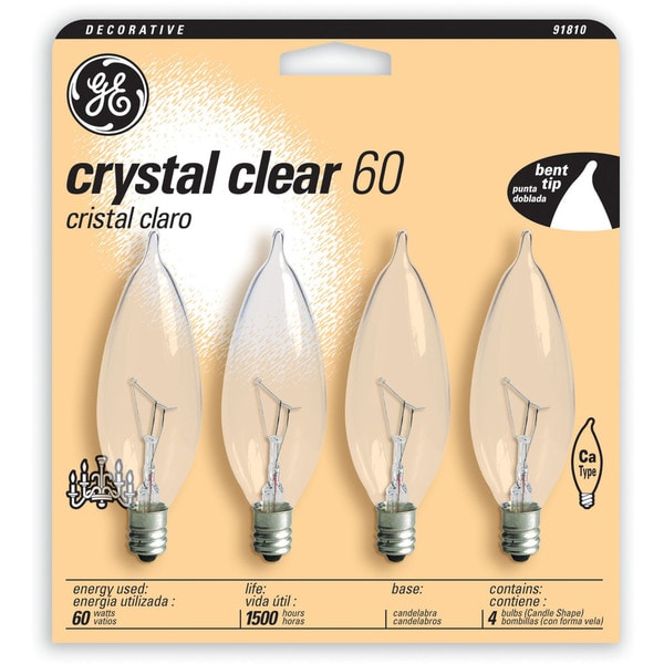 GE Lighting 76239 4 Pack 60 Watt Crystal Clear Candle Shaped Candelabra Bulbs