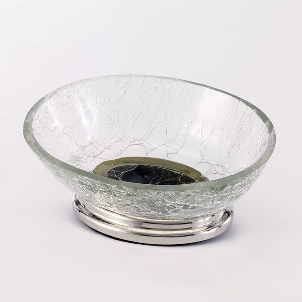 Crackle Glass Soap Dish Clear
