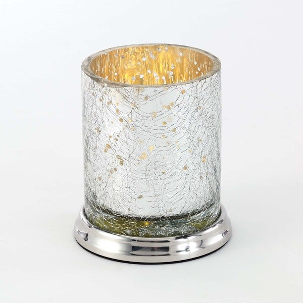 Mercury Glass Crackle Silver Tumbler
