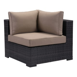 Bocagrande Brown Sunproof Wicker and Fabric Corner Chair