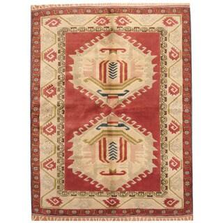Herat Oriental Turkish Hand-knotted Kazak Red/ Ivory Wool Rug (5'7 x 7'2)