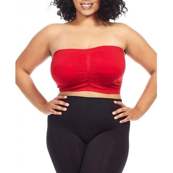 Dinamit Women S Plus Size Red Seamless Padded Bandeau Top
