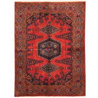 Herat Oriental Persian Hand-knotted Wiss Hamadan Red/ Blue Wool Rug (5'6 x 7'4)