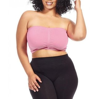 Dinamit Women's Plus Size Pink Seamless Padded Bandeau Top