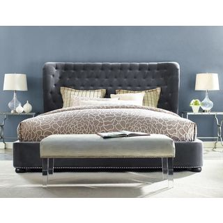 Finley Grey Velvet Tufted Bed Frame