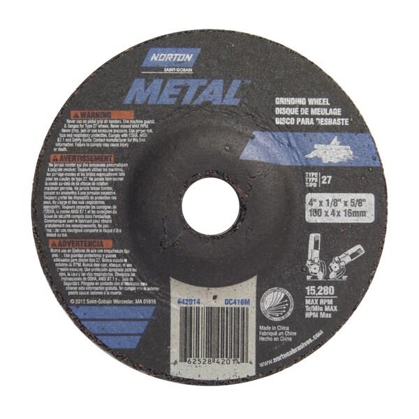 "Norton 42014 4"" X 1/8"" X 5/8"" Metal Grinding Wheel"