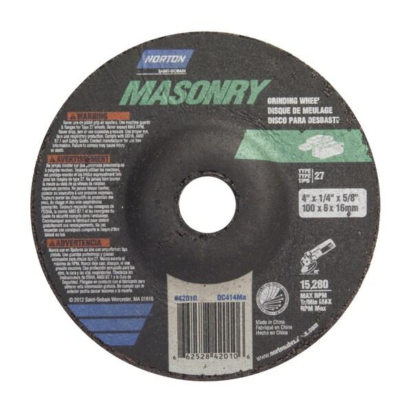"Norton 42010 4"" X 1/4"" X 5/8"" Masonry Grinding Wheel"
