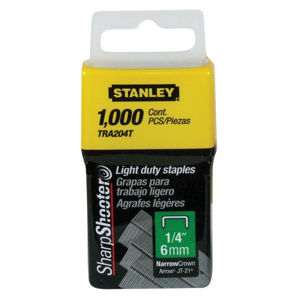 "Stanley TRA204T 1/4"" Light Duty Staples 1,000-count"
