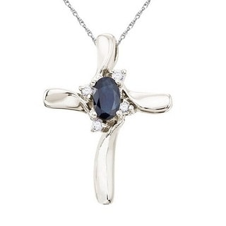 14k Gold Blue Sapphire and Diamond Cross Pendant Necklace