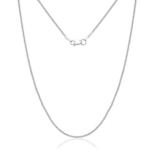 14k White Gold 1.5mm Forsantina Textured Chain Necklace