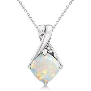 14k Gold Diamond & Cushion Opal Pendant Necklace