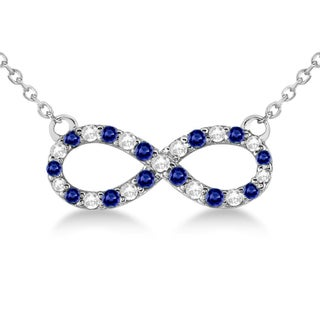 14k White Gold 1/2ct Twisted Infinity Diamond & Blue Sapphire Pendant Necklace