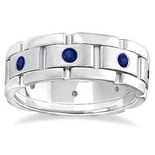 14k White Gold 8/10ct Men's Blue Sapphire Wedding Ring Wide Band