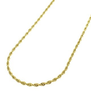 10k Yellow Gold 1.5mm Solid Rope Diamond-cut Chain Necklace