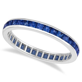 14k Gold 1 1/3ct Blue Sapphire & Diamond Eternity Ring Band (Blue, Eye Clean)