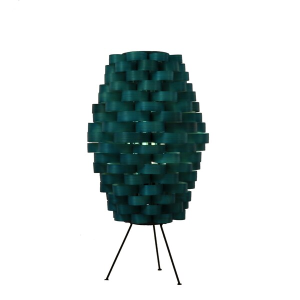 Bamboo Slat Weave Sea Blue Lamp (Philippines)