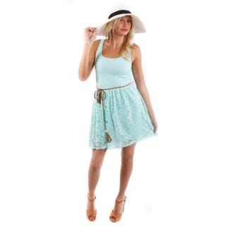 Hadari Women's (2 Piece Set) Floral Lace Summer Dress and White Sun Hat