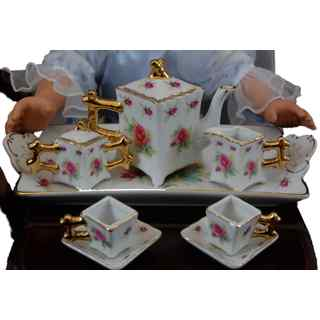 The Queen's Treasures Pink Rose Fine China Service for Two Tea Set Kitchen Dish Accessory for 18-inch Dolls