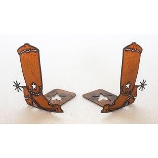 Rustic Metal Cowboy Boot Bookends