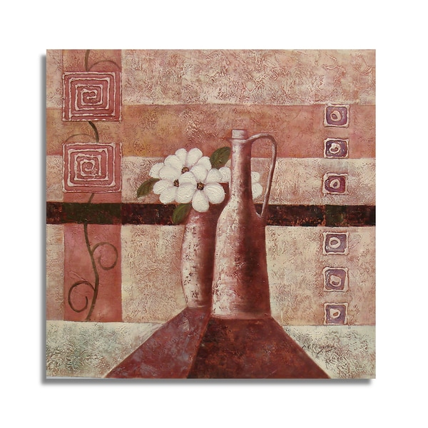 Beautiul White Floral Still Life with Geometric Accents Wall Art