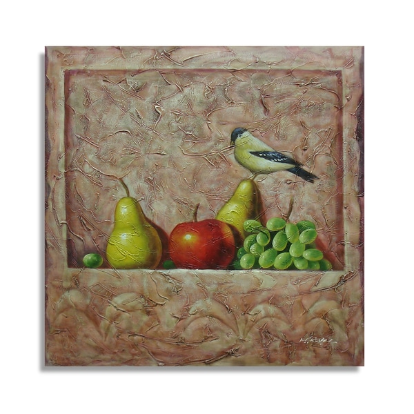 A Still Life Featuring a Bird Perched on Some Fruits Oil Painting on Canvas Wall Art