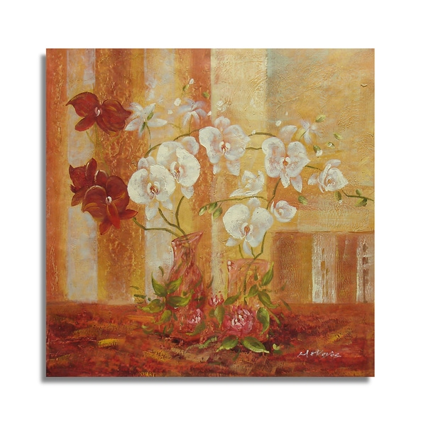 A Warm Colored Background and White Floral Still Life Oil Painting on Canvas Wall Art