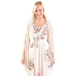 Hadari Women's Floral Knit Batsleeve Cardigan
