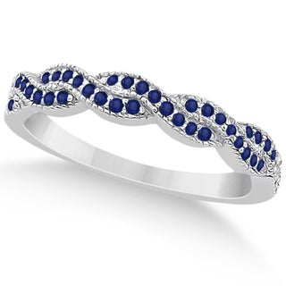 White Gold 1/3ct Blue Sapphire Infinity Semi Eternity Wedding Band