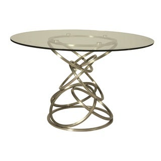 Roxanne Round Dining Table in Stainless Steel