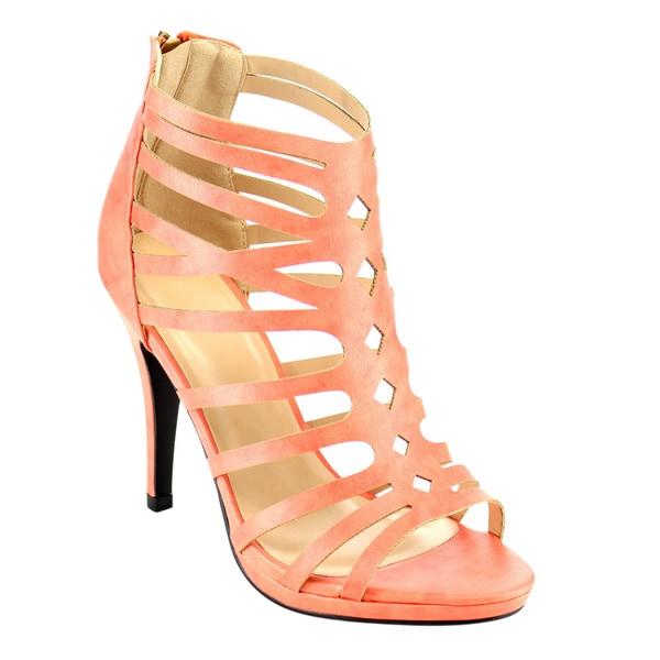 Beston CD20 Women's Stiletto Heel Caged Strap Cut-out Sandals