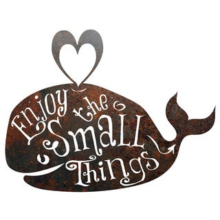 Rustic Metal Whale 'Enjoy The Small Things' Sign