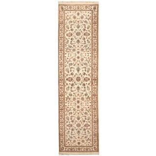 Herat Oriental Indo Hand-knotted Kashan Ivory/ Green Wool Runner (2'9 x 9'9)