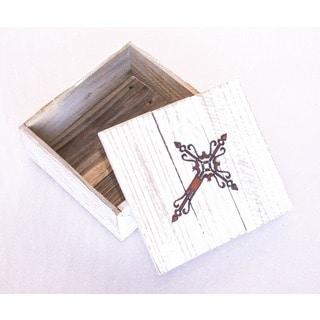 Natural Reclaimed Wood Metal Cross 3 Box