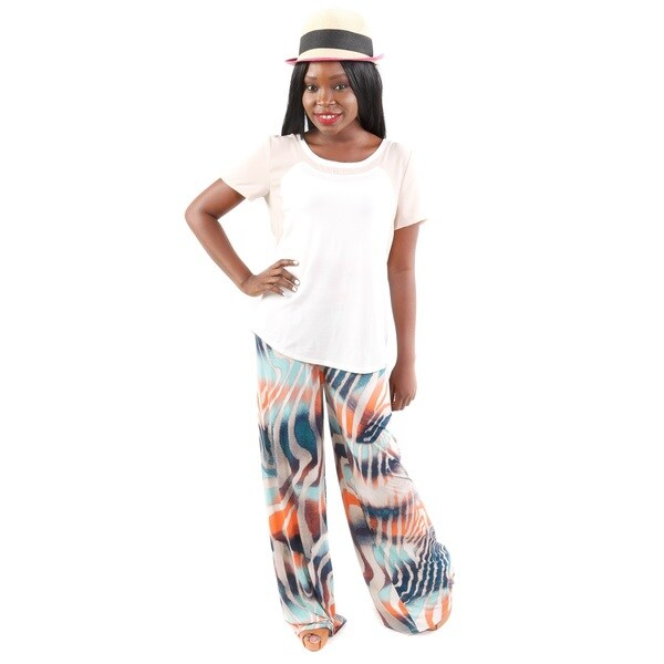 3 Piece Set: Hadari Women's Two-tone Tee, Tiger Print Wide-Leg Pants, and Wide Brim Sun Hat