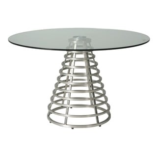 Fuego Maya Round Dining Table in Stainless Steel