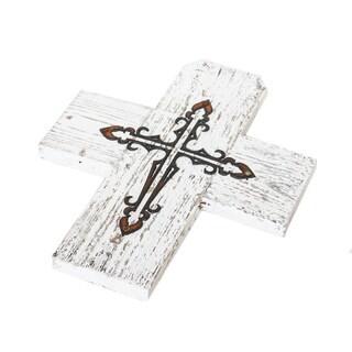 Natural Reclaimed Wood Metal Cross 6