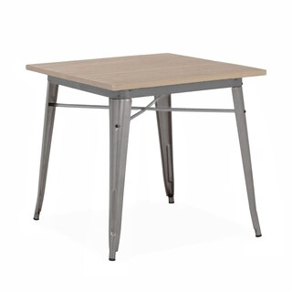 Amalfi Gunmetal and Light Wood 30 Inch Dining Table
