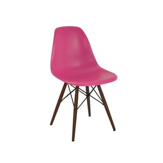 Mid Century Modern Lipstick Pink Side Chair with Walnut Wood Base (Set of 5)