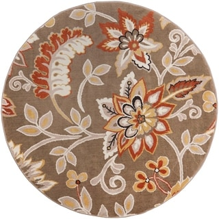 """Home Dynamix Tremont Collection Taupe-Salmon (39"""") Round Machine Made Polypropylene Area Rug"""