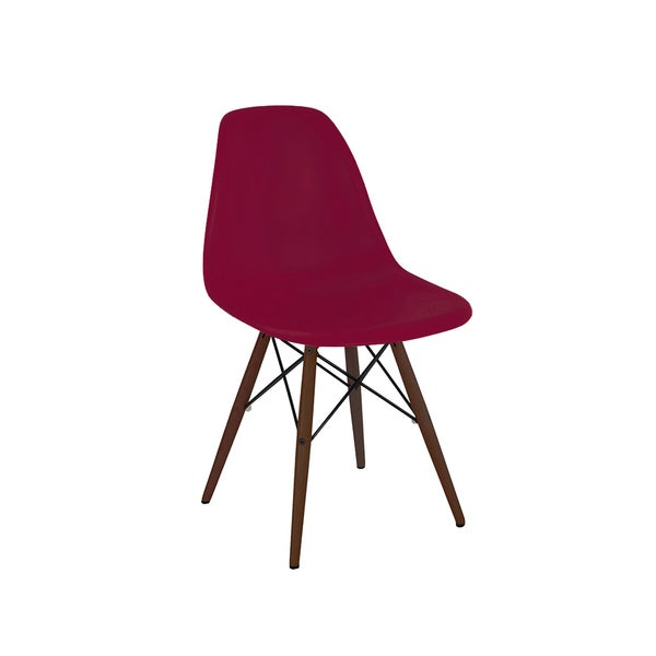 Mid Century Claret Wine Red Side Chair with Walnut Base (Set of 5)
