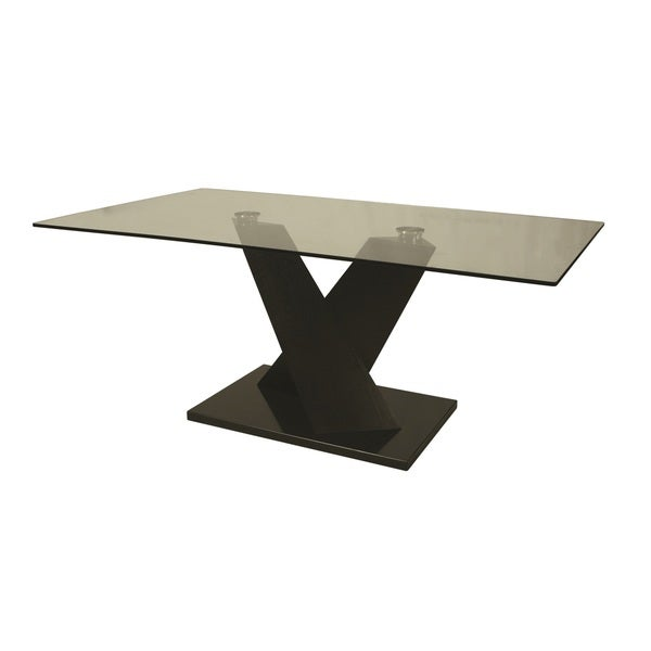 Hudson Valley Black Veneer and Glass Rectangular Dining Table