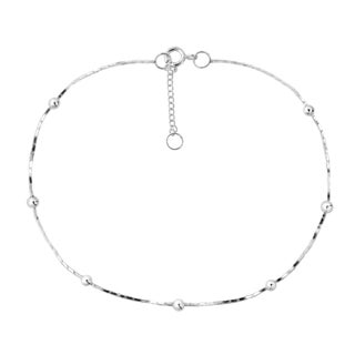 Sleek Round Beads Simple Chain Sterling Silver Anklet (Thailand)