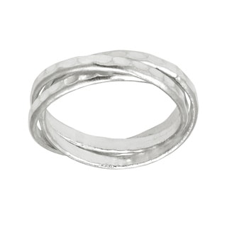 Interconnected Trinity Hammered Band HillTribe Silver Ring (Thailand)