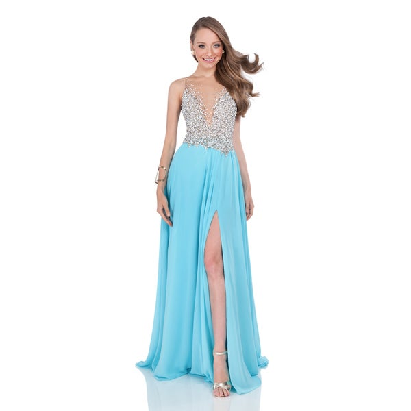 Terani Couture Women's A-Line Crystal Encrusted Prom Dress