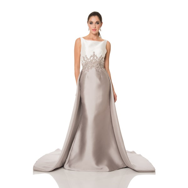 Tan/ White Two-Tone Embellished Evening Gown